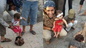 Baby's father makes her step on the severed head of a Syrian soldier
