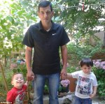 Happier times with father and brother Galip who also drowned in the boat