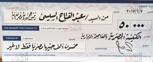 checks published in newspapers showing Sisi's donation